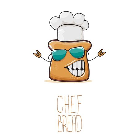 vector funky cartoon cute bread chef character with white chef hat isolated on white background. My name is bread concept illustration. Bakery funky mascot design template