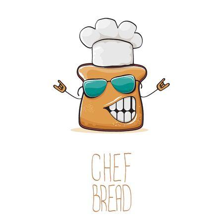 Vektor funky Cartoon süße Brot Koch Charakter mit weißen Kochmütze auf weißem Hintergrund. Mein Name ist Brotkonzeptillustration. Bakery funky Maskottchen-Design-Vorlage