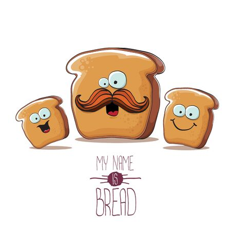 vector funky cartoon bread character with friends isolated on white background. funky food bakery kids characters set or collection