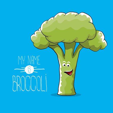 vector funny cartoon cute green broccoli character Ilustração