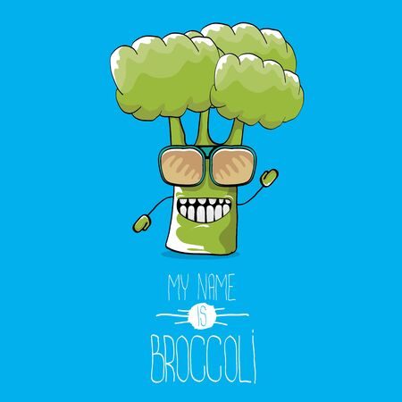 vector funny cartoon cute green broccoli character Banco de Imagens - 128371949