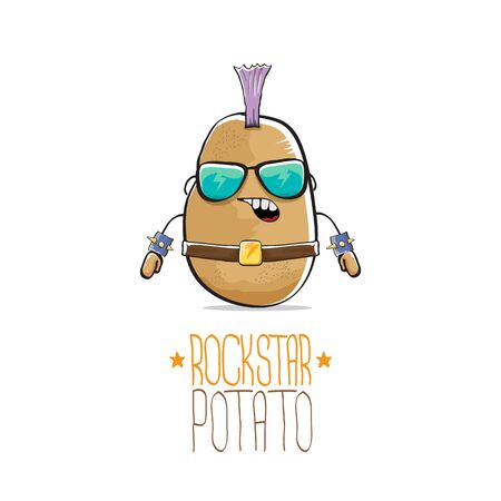 vector funny cartoon cute brown punk rock star potato character with Iroquois isolated on white background. My name is potato vector concept. rock n rock hipster vegetable funky character