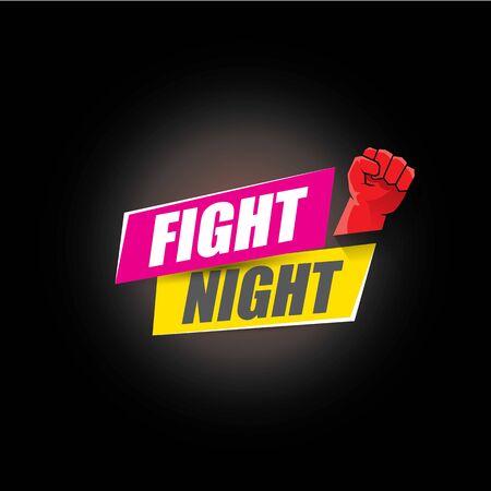 Combattez l'affiche moderne de vecteur de nuit avec le texte et le poing fort. modèle de conception d'emblème de mma, de lutte ou de club de combat. Étiquette de combat isolé sur fond noir Vecteurs