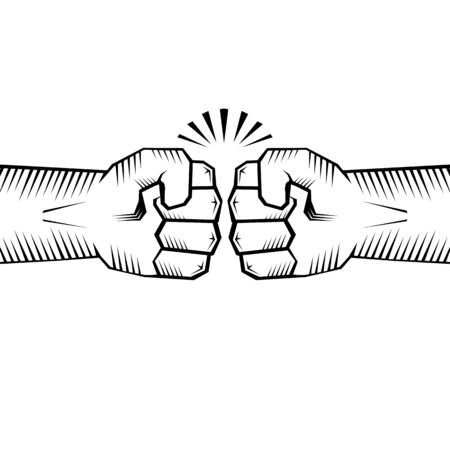Two clenched fists bumping. Conflict, protest, brotherhood or clash concept vector illustration Vettoriali
