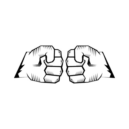 Two clenched fists bumping. Conflict, protest, brotherhood or clash concept vector illustration Foto de archivo - 128721111