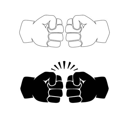 Two clenched fists bumping. Conflict, protest, brotherhood or clash concept vector illustration Foto de archivo - 128721108