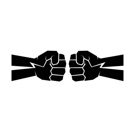 Two clenched fists bumping. Conflict, protest, brotherhood or clash concept vector illustration Foto de archivo - 128721117