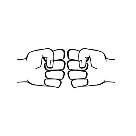 Two clenched fists bumping. Conflict, protest, brotherhood or clash concept vector illustration Çizim
