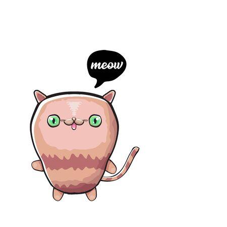 kawaii cute cat isolated on white background. Cartoon happy kitten with big eyes Ilustração