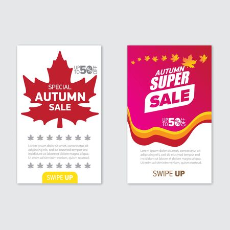 Modern trendy mobile autumn sale banners set . Hot Sale banner design template , Super sale special offer web horizontal banners collection with maple leaf