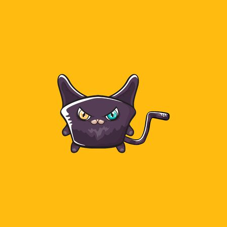 cute black halloween cat isolated on orange background. Cartoon happy black witch kitten with big eyes Stock Illustratie