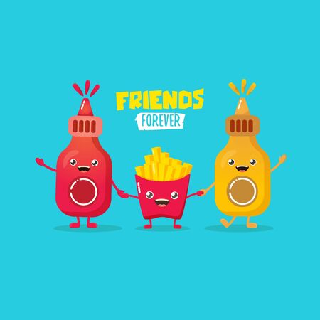 funny cartoon cute ketchup bottle, mustard bottle and potatoe french fries characters set . food flat funky character. Best friends or friendsip concept Stock Illustratie