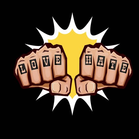 love and hate fists with tattoo isolated on black background. Fight for love concept illustration with fist punch