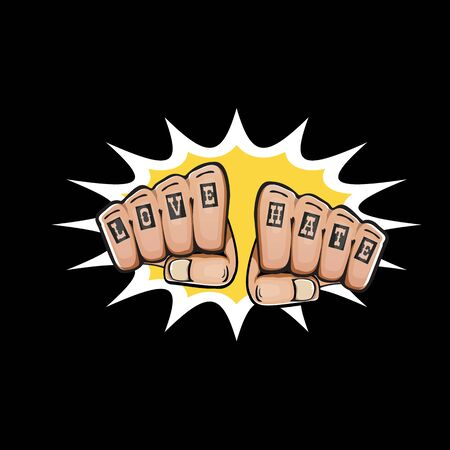 love and hate fists with tattoo isolated on black background. Fight for love concept illustration with fist punch Фото со стока - 129708557