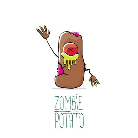 vector funny cartoon cute brown zombie potato isolated on white background. My name is zombie potato vector concept halloween background. monster vegetable funky character