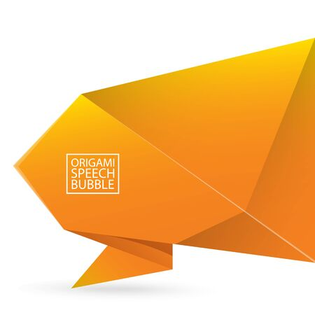 Vector Abstract orange origami speech bubble or banner isolated on white background. Ribbon banner, scroll, price tag, sticker, badge, poster.