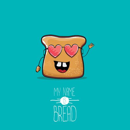 vector funny cartoon cute sliced bread character isolated on turquoise background. My name is bread concept illustration. funky food character or bakery label mascot