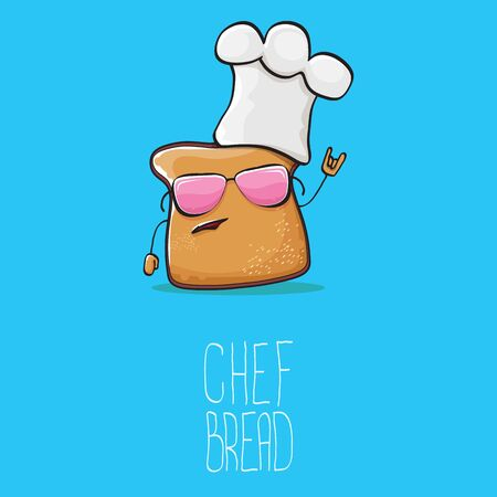 vector funky cartoon cute bread chef character with white chef hat isolated on blue background. My name is bread concept illustration. Bakery funky logo or mascot design template