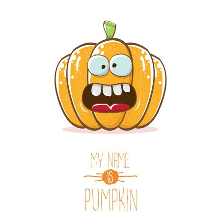 vector funny cartoon cute orange smiling pumpkin isolated on white background. My name is pumkin vector concept illustration. vegetable funky halloween or thanksgiving day character