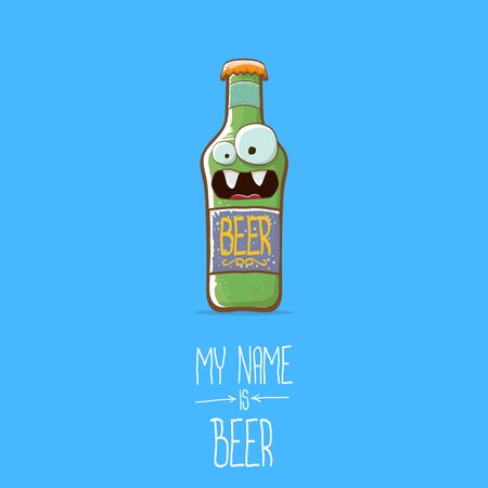 vector cartoon beer bottle character isolated on blue background.vector beer comic label or poster design template. my name is beer or happy friday concept illustration