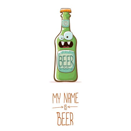 vector cartoon beer bottle character isolated on white background.vector beer comic label or poster design template. my name is beer or happy friday concept illustration