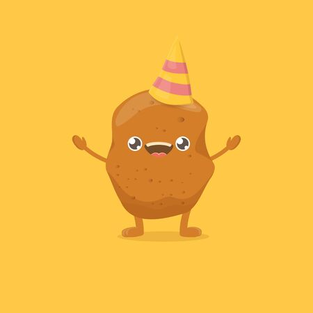 vector funny cartoon cute smiling tiny potato isolated on yellow background. vegetable funky character