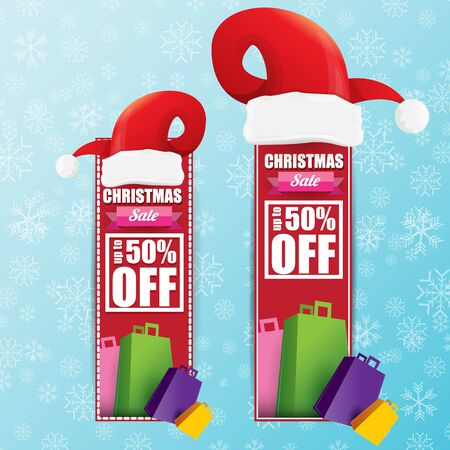 vector Christmas sales banner or tag label with red santa hat on snowy blue background with falling snowflakes. Red winter Christmas sale poster design template or background Иллюстрация