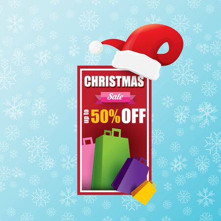 vector Christmas sales banner or tag label with red santa hat on snowy blue background with falling snowflakes. Red winter Christmas sale poster design template or background Banque d'images - 131953036