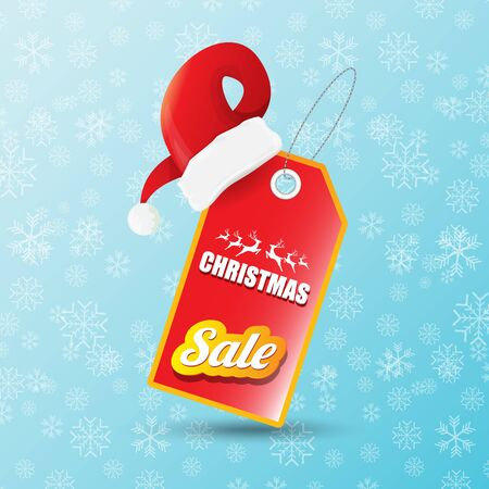 vector Christmas sales banner or tag label with red santa hat on snowy blue background with falling snowflakes. Red winter Christmas sale poster design template or background Banque d'images - 131952807