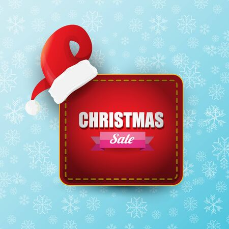 vector Christmas sales paper banner or tag label with red santa hat on snowy blue background with falling snowflakes. Red winter Christmas sale poster design template or background Banque d'images - 131955830