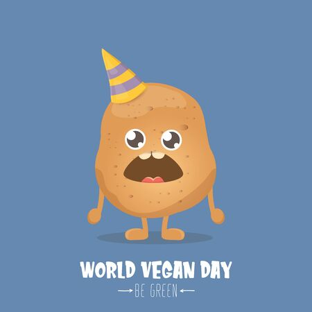 World vegan day greeting card with funny cartoon cute brown smiling tiny potato isolated on blue background. Vegan day banner. vegetable funky character