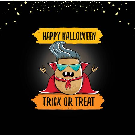 vector funny cartoon cute dracula potato with fangs and red cape isolated on dark background. My name is dracula potato vector concept halloween background. vampire monster vegetable funky character