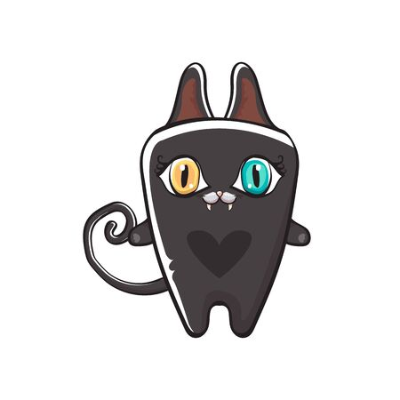 cute black halloween cat isolated on orange background. Cartoon happy black witch kitten with big eyes