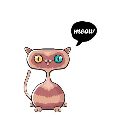 kawaii cute cat isolated on white background. Cartoon happy kitten with big eyes and speech bubble