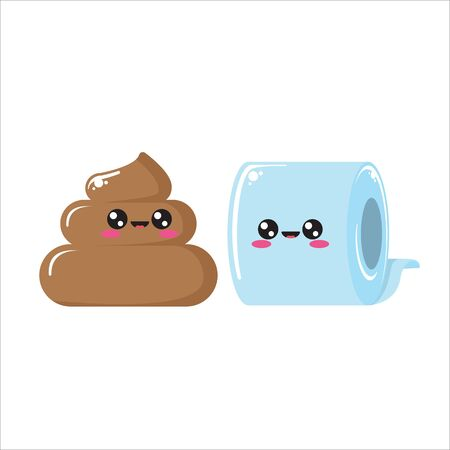 vector toilet paper and poo character set isolated on white background. Funky kawaii tolet paper roll and cute little poop collection Vecteurs