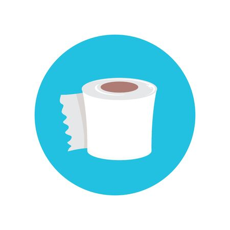 Toilet Paper icon isolated on blue background. Vector white toilet paper roll sign or icon