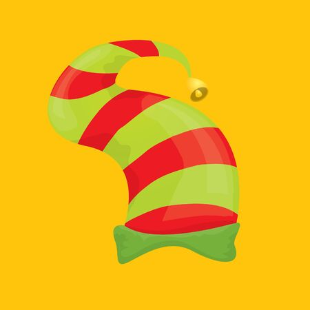 christmas elf hat isolated on orange background. vector illustration