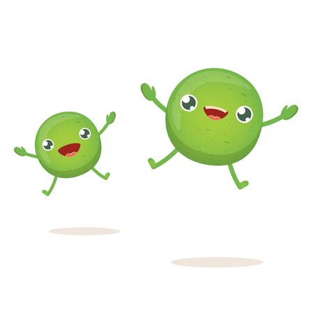 cartoon happy tiny baby pea character isolated on white background. vegetable funky character Vettoriali