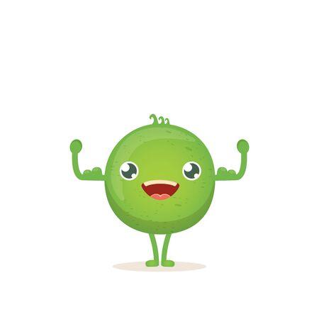 cartone animato felice piccolo bambino pisello carattere isolato su sfondo bianco. carattere funky vegetale