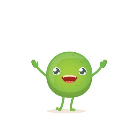 cartoon happy tiny baby pea character isolated on white background. vegetable funky character Vetores