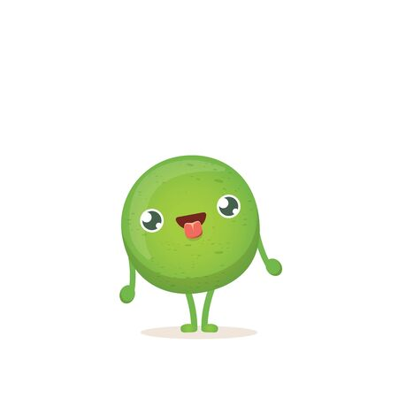 cartoon happy tiny baby pea character isolated on white background. vegetable funky character