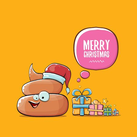 vector funny cartoon cool cute brown smiling poo icon with santa with red hat, christmas gift boxes and speech bubble on orange background. emoji funky christmas character. - Vector