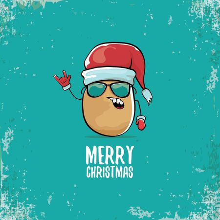 vector funky comic cartoon cute smiling santa claus potato character with red santa hat and calligraphic merry christmas text isolated on turquoise background. vegetable funky christmas food character