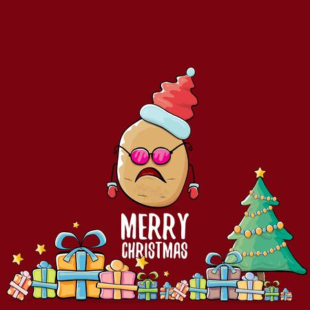 vector funky comic cartoon cute brown smiling santa claus potato with red santa hat, gifts, tree and calligraphic merry christmas text isolated on red background. vegetable funky christmas character