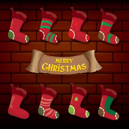 vector cartoon cute christmas stocking or socks with color ornament isolated on brick wall background. Merry Christmas vector greeting card or background with calligraphic text on old vintage wall