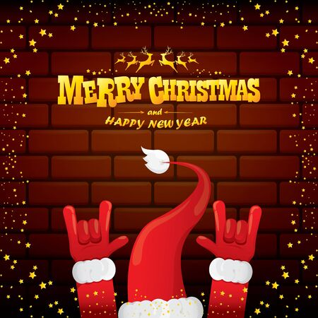 vector cartoon Santa Claus rock n roll style with golden greeting text on brick wall background with christmas star lights. Merry Christmas Rock n roll party poster design or greeting card.
