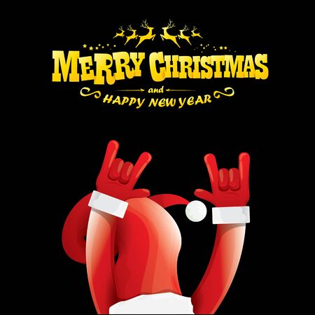 vector cartoon Santa Claus rock n roll style with golden greeting text on black background with christmas star lights. Merry Christmas Rock n roll party poster design or greeting card.
