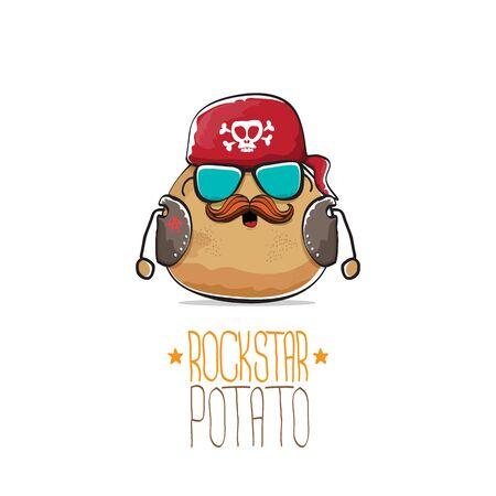 vector, estrella de rock, papa, divertido, caricatura, lindo, carácter, con, pañuelo, chaqueta de cuero, gafas de sol, y, bigote, aislado, blanco, fondo. rock n roll hipster vegetal funky personaje