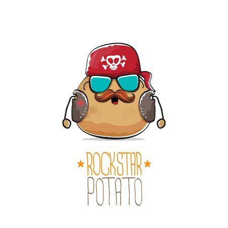 vector rock star potato funny cartoon cute character with bandana, leather jacket, sunglasses and moustache isolated on white background. rock n roll hipster vegetable funky character