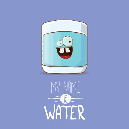 funny cartoon cute smiling still water glass character isolated on violet background. My name is Water concept illustration. Kids food flat funky kawaii character Illustration